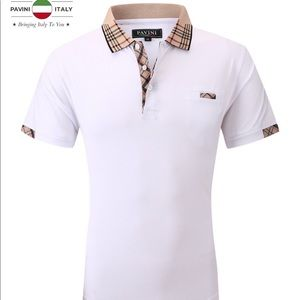 Men's White Pavini Short Sleeve Polo